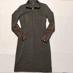 Lauren Ralph Lauren Career Dress Leather Trim 6